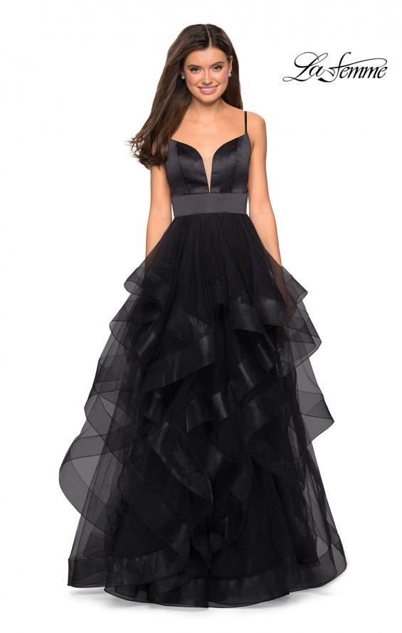 Picture of: Tulle A Line Dress with Plunging Sweetheart Neckline in Black, Style: 27024, Detail Picture 2