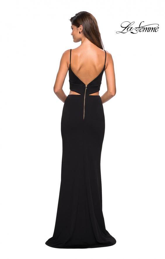 Picture of: Mock Two Piece Prom Dress with Front and Back Zippers in Black, Style: 27453, Detail Picture 2