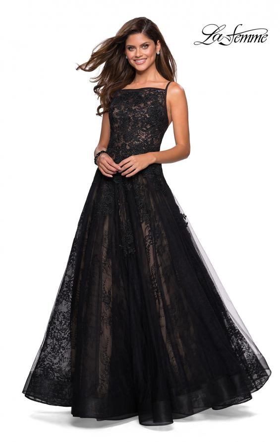 Picture of: Tulle and Lace Long Evening Gown with Pockets, Style: 27488, Detail Picture 2