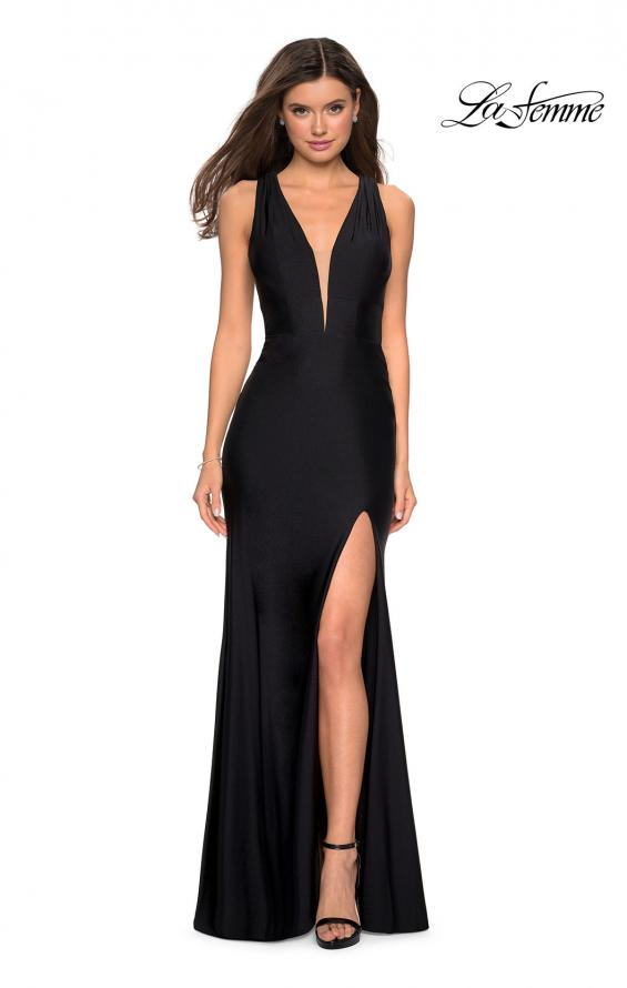 Picture of: Form Fitting Long Jersey Dress with Plunging Neckline in Black, Style: 27602, Detail Picture 2