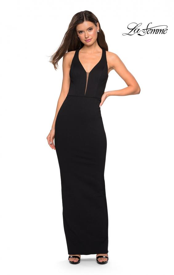 Picture of: Body Forming Dress with Exposed Zipper and Slit in Black, Style: 27637, Detail Picture 2