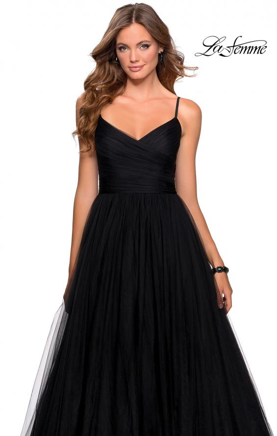 Picture of: Long Tulle Pleated Bodice Prom Gown with Pockets in Black, Style: 28123, Detail Picture 2