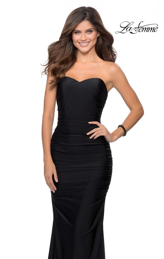 Picture of: Long Strapless Sweetheart Neckline Prom Dress in Black, Style: 28324, Detail Picture 2
