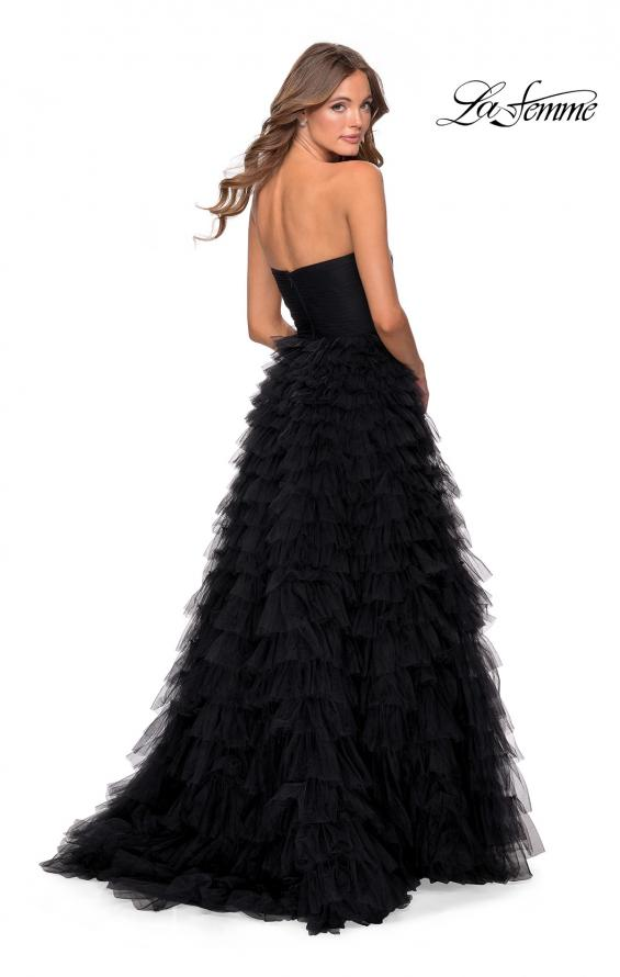 Picture of: Cascading Tulle Strapless Gown with Ruching in Black, Style: 28345, Detail Picture 2