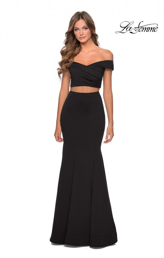 Picture of: Two Piece Off The Shoulder Dress with Pleated Top in Black, Style: 28521, Detail Picture 2
