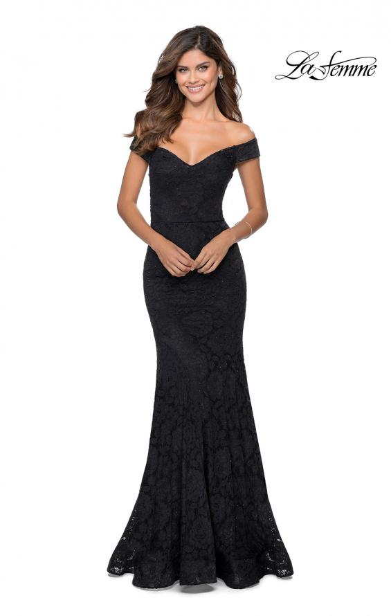 Picture of: Long Off the Shoulder Prom Dress with Lace Up Back in Black, Style: 28545, Detail Picture 2