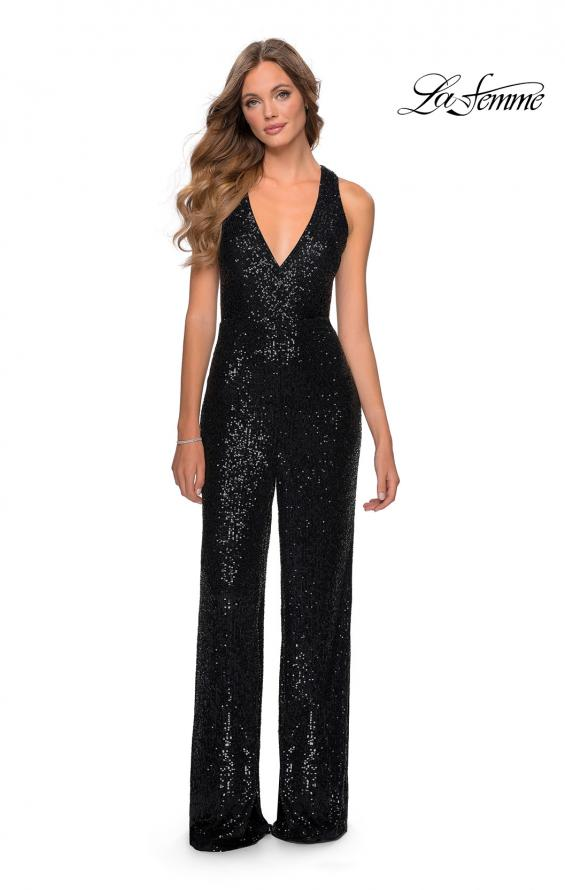 Picture of: Long Sequin Jumpsuit with Criss Cross Back in Black, Style: 28719, Detail Picture 2