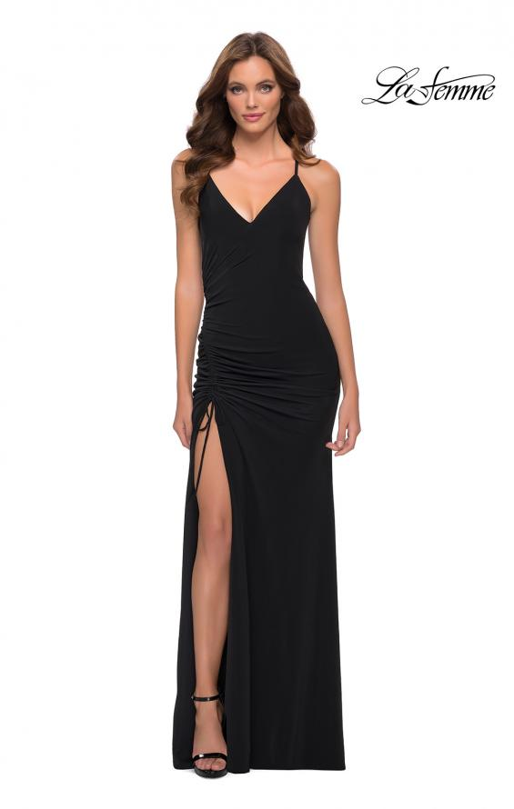 Picture of: Simple Jersey Dress with Ruched Lace Up Side Detail in Black, Style 29444, Detail Picture 2