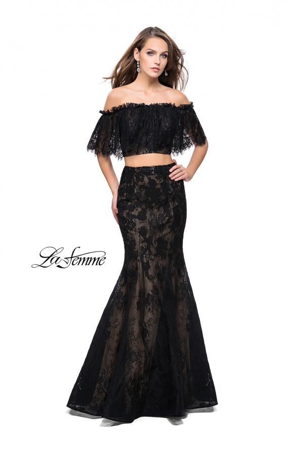 Picture of: Two Piece Mermaid Style Gown with Off the Shoulder Top in Black, Style: 25417, Detail Picture 3