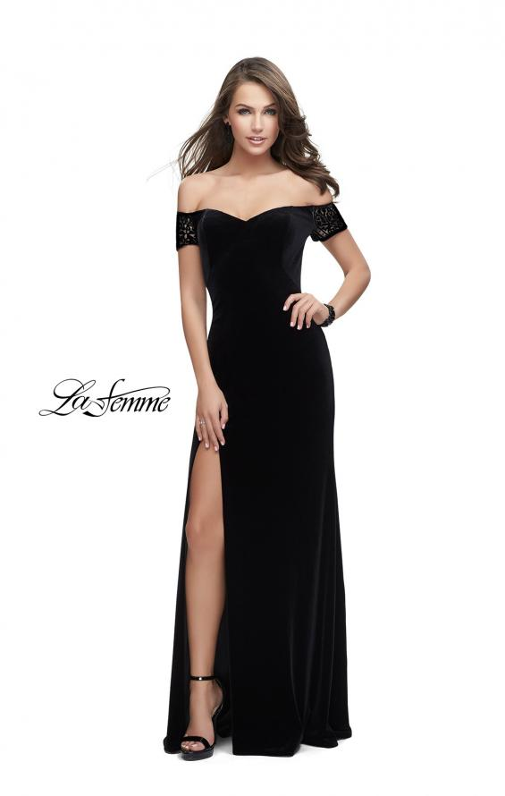 Picture of: Off the Shoulder Velvet Dress with Sheer Burnout Back in Black, Style: 25554, Detail Picture 3