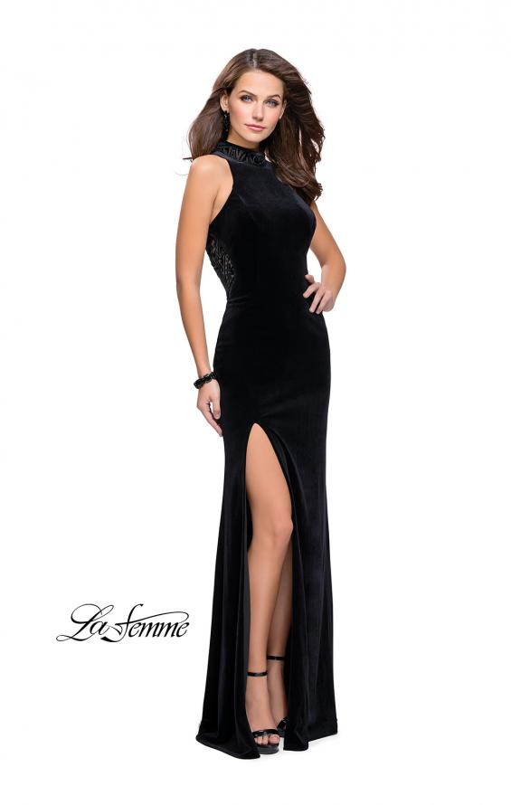 Picture of: Form Fitting Velvet Prom Dress with High Neckline in Black, Style: 25559, Detail Picture 3