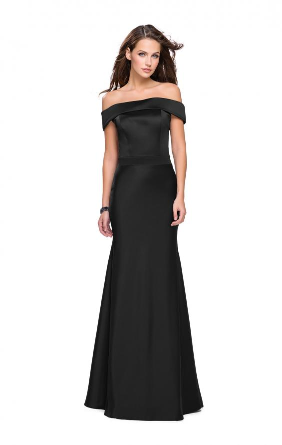 Picture of: Satin Off the Shoulder Dress with Trumpet Silhouette in Black, Style: 25579, Detail Picture 3
