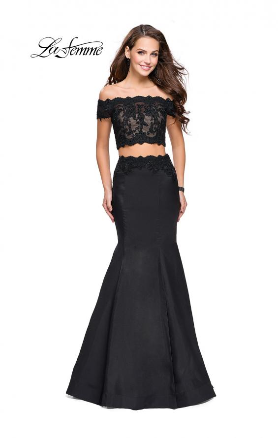 Picture of: Mikado Two Piece Prom Dress with Lace and Beading, Style: 25583, Detail Picture 3