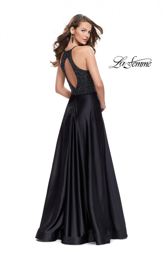 Picture of: Satin A-line Ball Gown Featuring Beading and a High Neck in Black, Style: 25601, Detail Picture 3