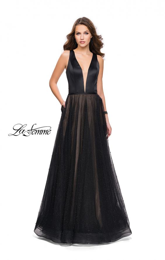 Picture of: A-line Prom Dress with Pearl Beading and a Tulle Skirt in Black, Style: 25630, Detail Picture 3