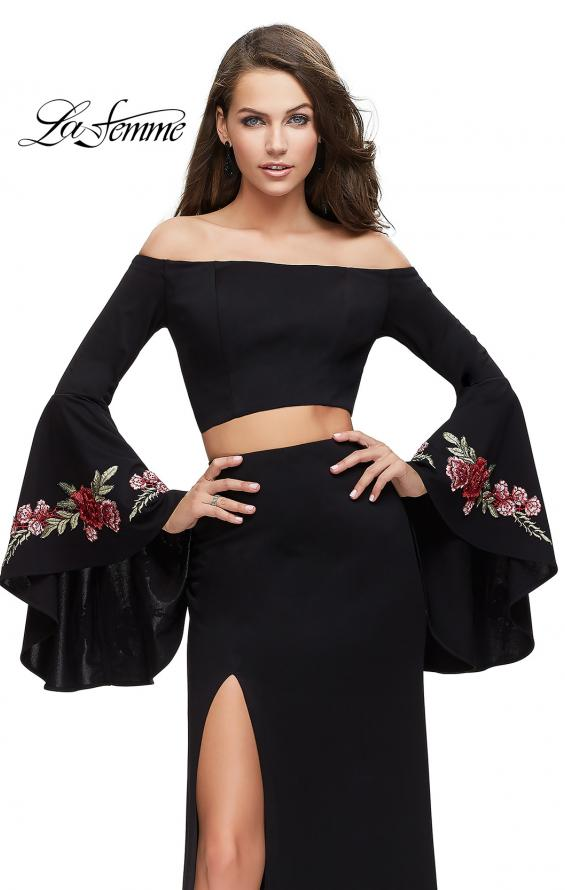 Picture of: Two Piece Off the Shoulder Dress with Long Bell Sleeves, Style: 25741, Detail Picture 3