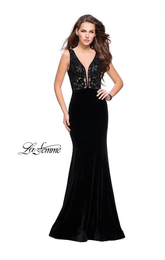 Picture of: Long Embellished Velvet Prom Dress with a Low V Back, Style: 25824, Detail Picture 3