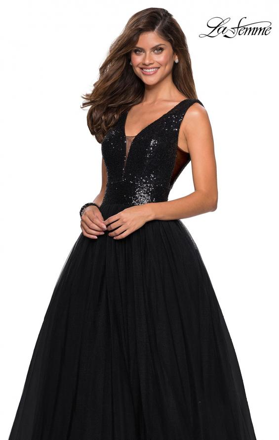 Picture of: sequin Bust A Line Prom Gown with Pockets in Black, Style: 27336, Detail Picture 3