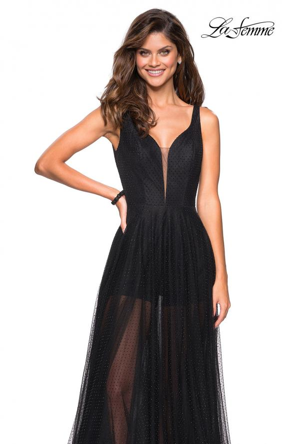 Picture of: Long Prom Dress with Sheer Skirt and Shorts in Black, Style: 27457, Detail Picture 3