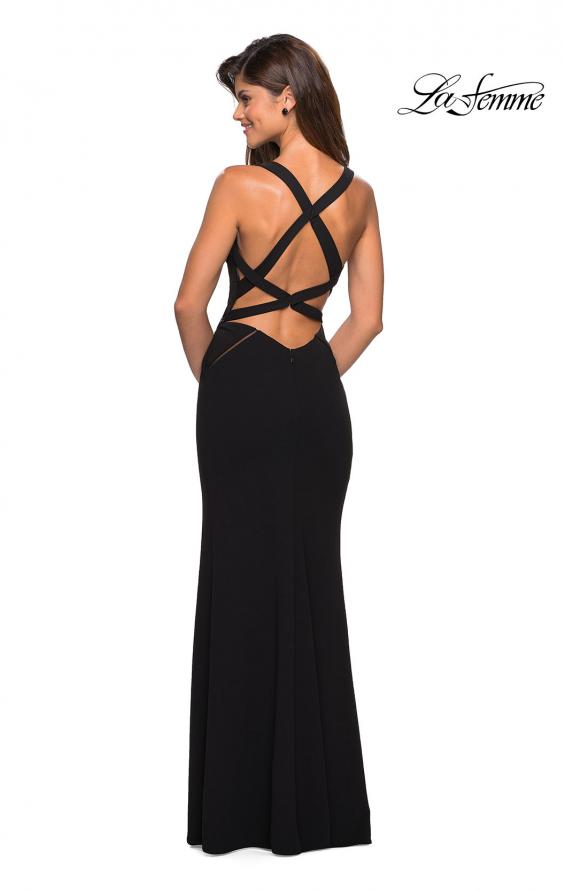 Picture of: Long Black Prom Dress with Illusion Cutouts in Black, Style: 27538, Detail Picture 3