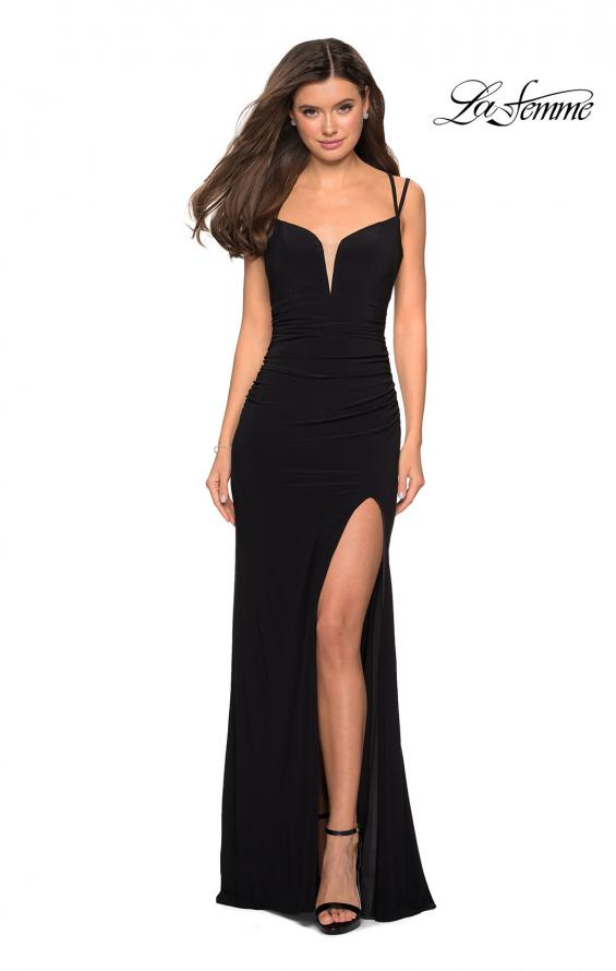 Picture of: Form Fitting Long Jersey Dress with Ruching in Black, Style: 27564, Detail Picture 3