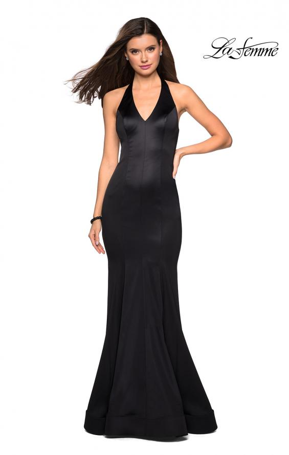 Picture of: Form Fitting Halter Satin Dress with Open Back in Black, Style: 27653, Detail Picture 3