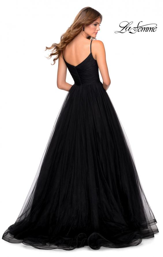 Picture of: Long Tulle Pleated Bodice Prom Gown with Pockets in Black, Style: 28123, Detail Picture 3