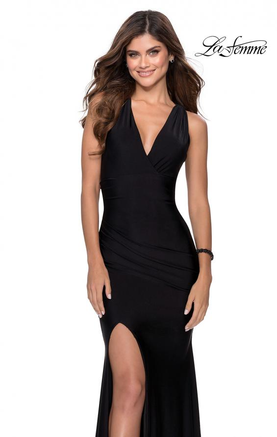 Picture of: Sleek Prom Dress with Deep V-Neckline and Tie Back in Black, Style: 28677, Detail Picture 3