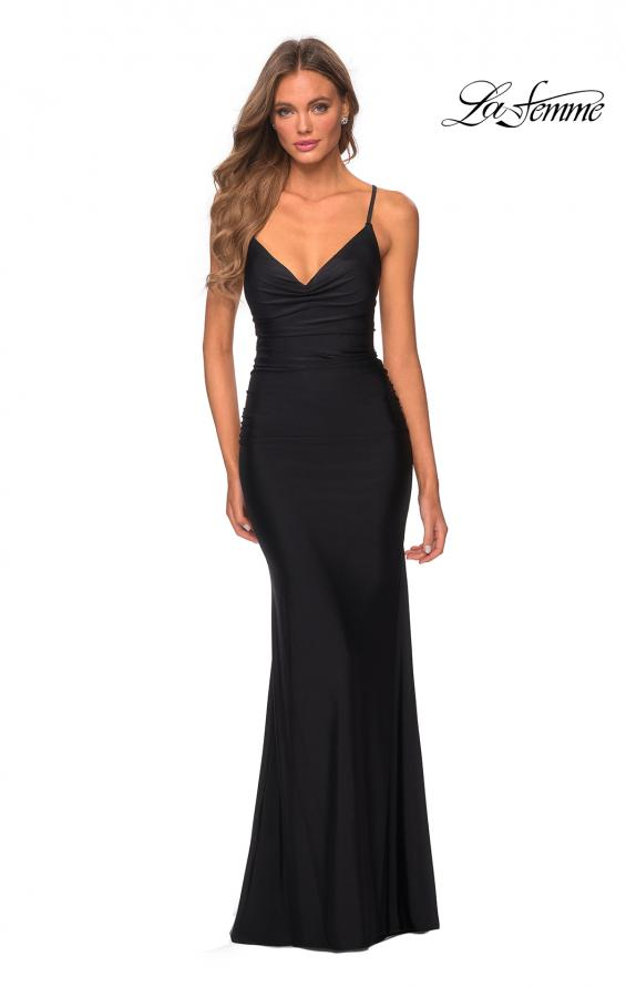 Picture of: Long Jersey Dress with Draped V-Neckline and Ruching in Black, Style: 28984, Detail Picture 3