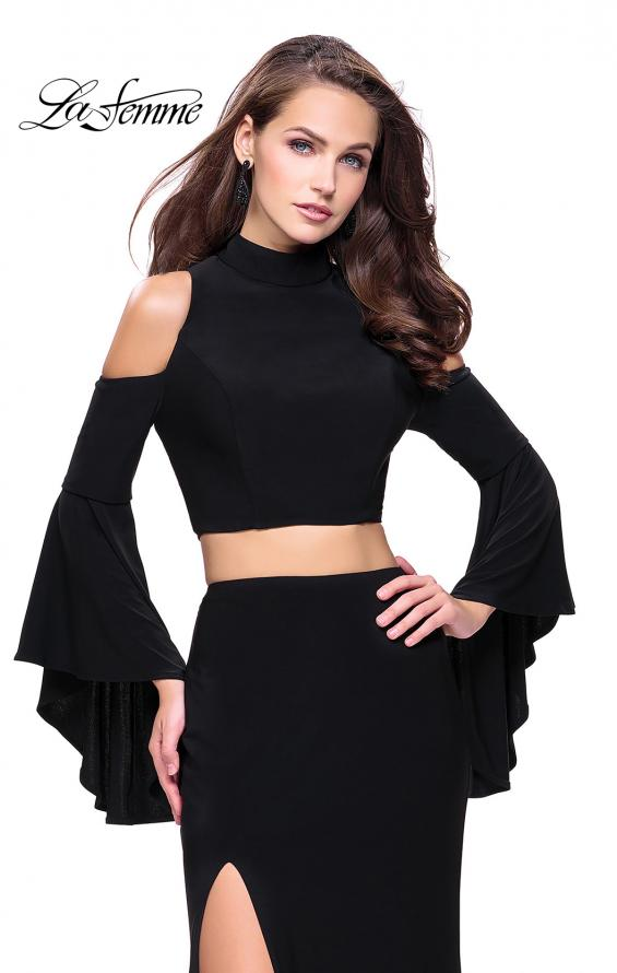 Picture of: Long Two Piece Dress with Cold Shoulders and Bell Sleeves, Style: 25353, Detail Picture 4