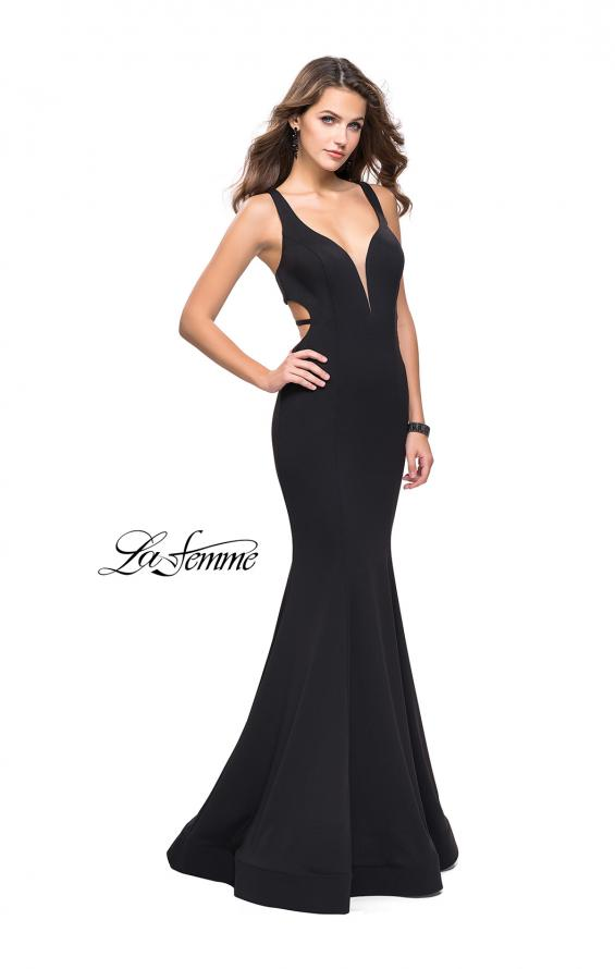 Picture of: Long Jersey Mermaid Dress with Deep V and Strappy Back in Black, Style: 25594, Detail Picture 2