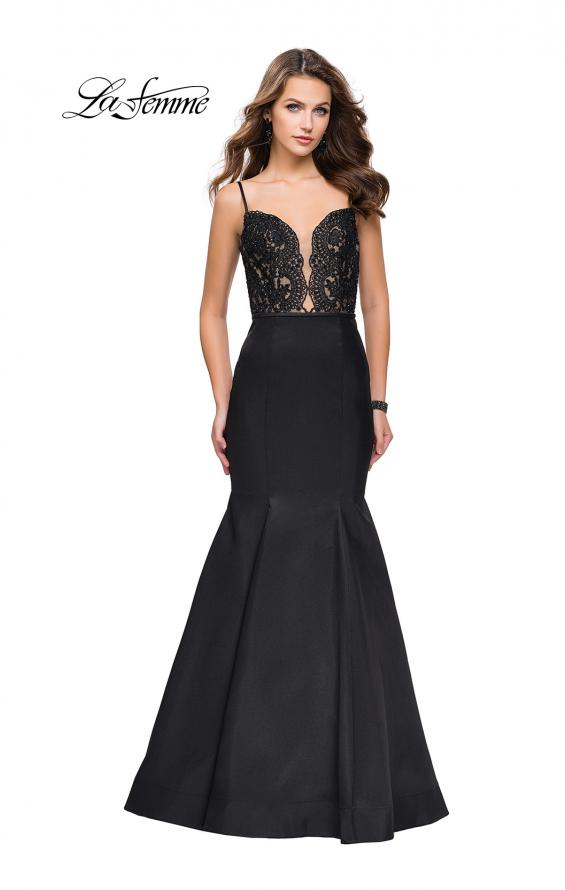 Picture of: Mikado Prom Dress with Lace Beaded Bodice and Low Back in Black, Style: 25751, Detail Picture 2