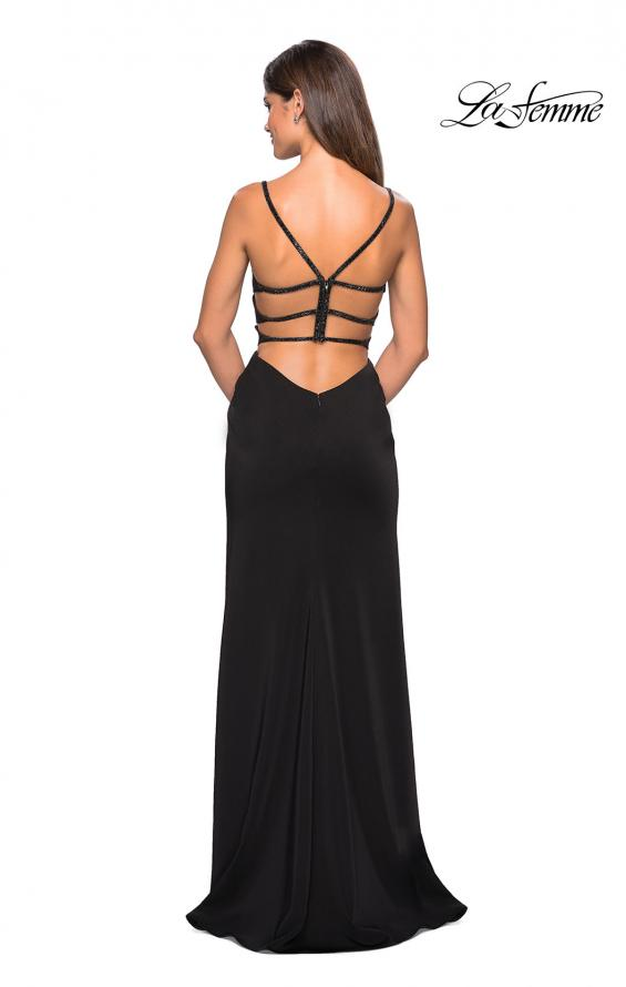 Picture of: Form Fitting Prom Dress with Tape Beaded Straps in Black, Style: 27060, Detail Picture 4