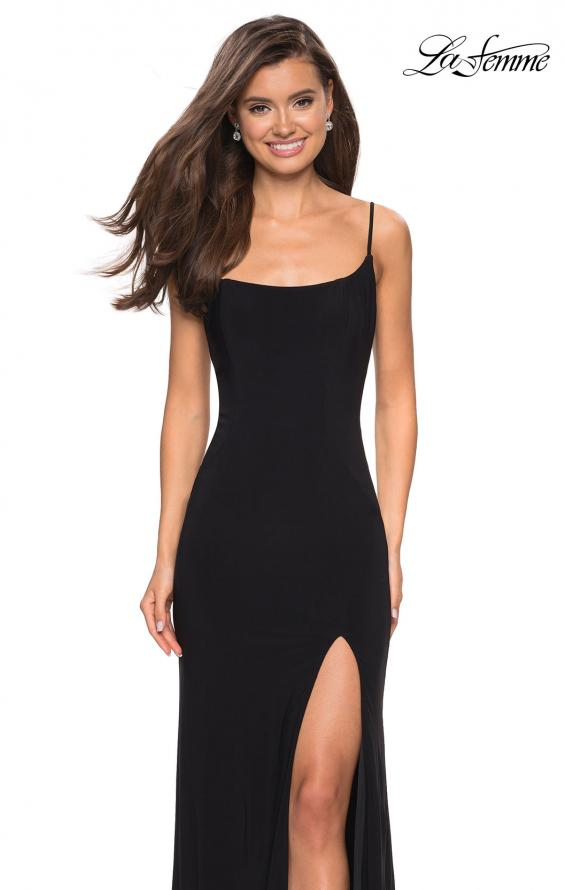 Picture of: Simple Floor Length Jersey Dress with Scoop Neck in Black, Style: 27469, Detail Picture 4