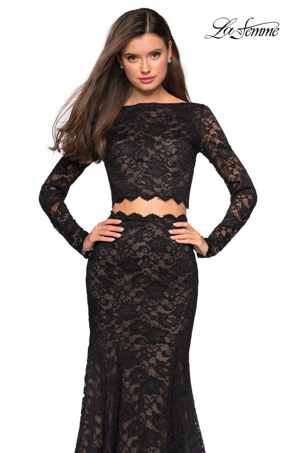 Picture of: Stretch Lace Long Sleeve Two Piece Prom Dress, Style: 27601, Detail Picture 4