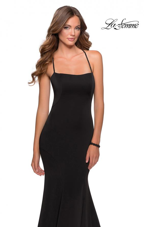 Picture of: Long Jersey Prom Dress with Beaded Strappy Back in Black, Style: 28526, Detail Picture 4