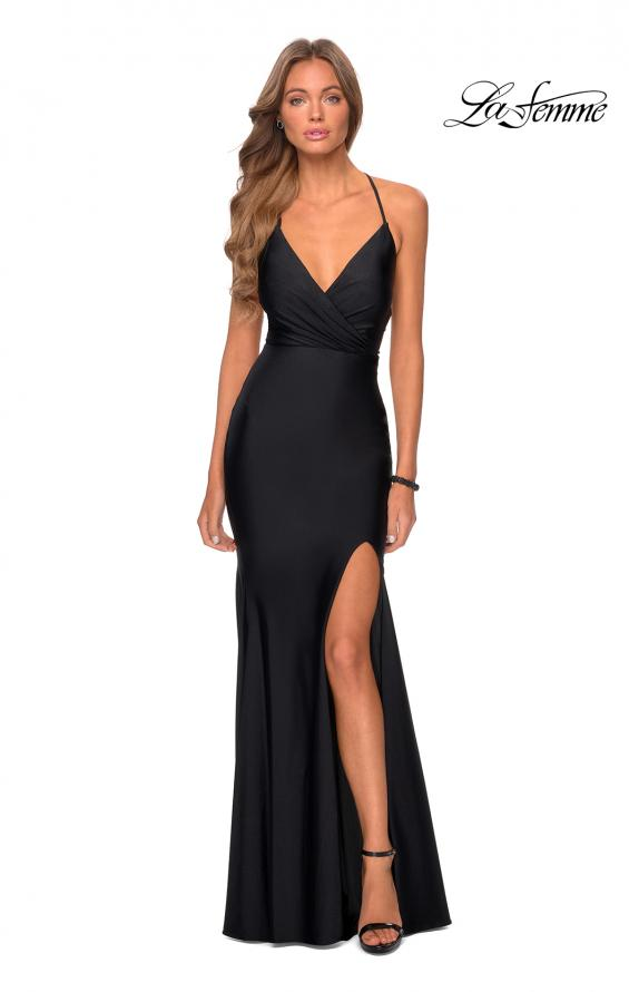 Picture of: Long Chiffon Prom Dress with Unique Lace Up Back in Black, Style 28552, Detail Picture 4