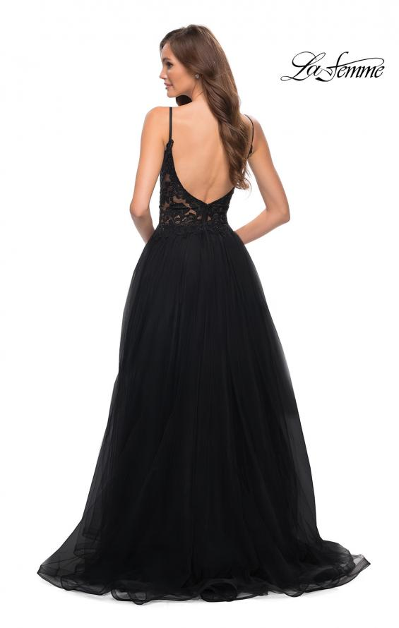 Picture of: Tulle A Line Gown with Lace Rhinestone Bodice in Black, Style 29686, Detail Picture 4