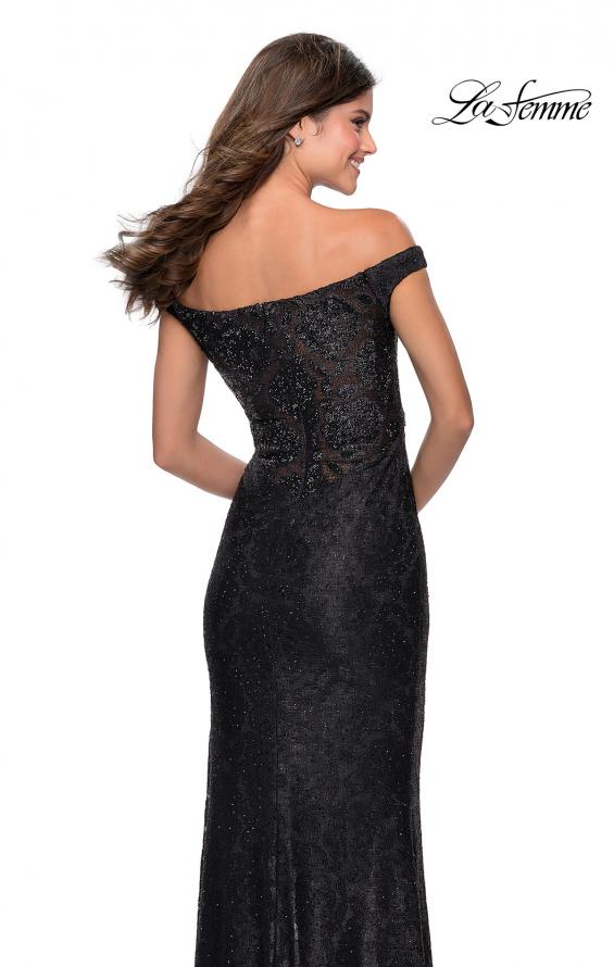 Picture of: Beaded Lace Prom Dress with Off the Shoulder Detail in Black, Style: 28301, Detail Picture 5