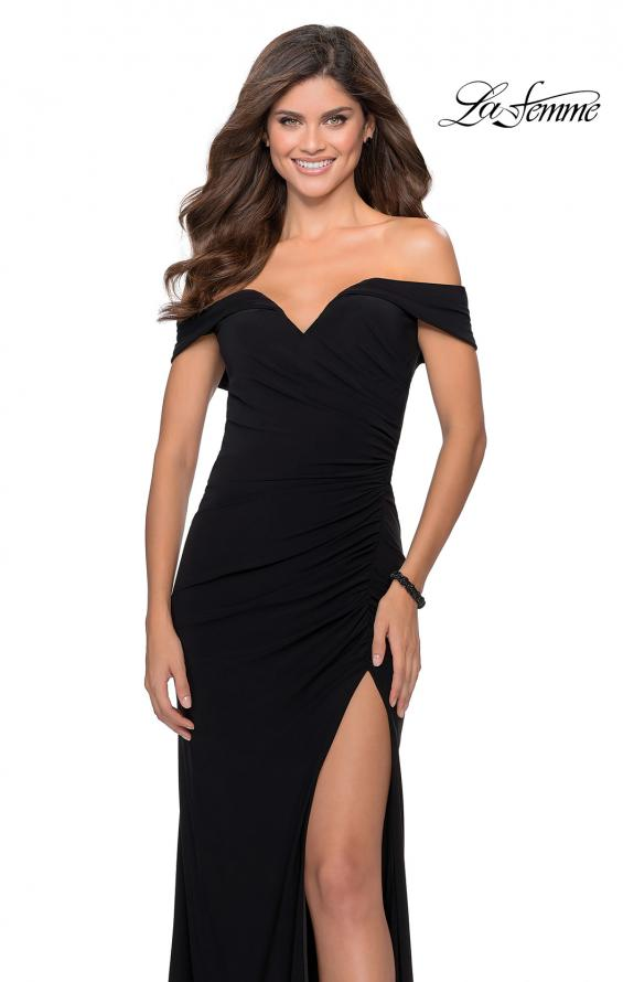 Picture of: Off the Shoulder Fully Ruched Floor Length Gown in Black, Style: 28389, Detail Picture 5