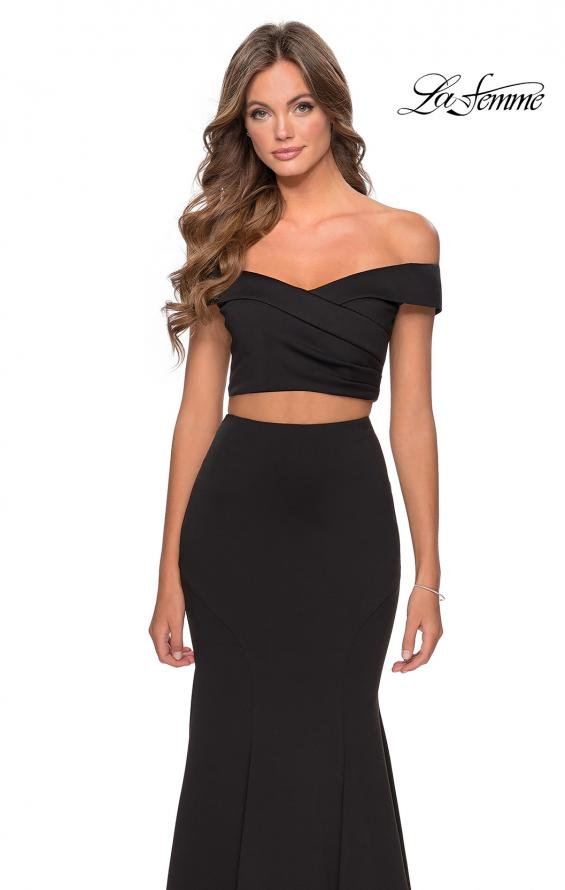 Picture of: Two Piece Off The Shoulder Dress with Pleated Top in Black, Style: 28521, Detail Picture 5