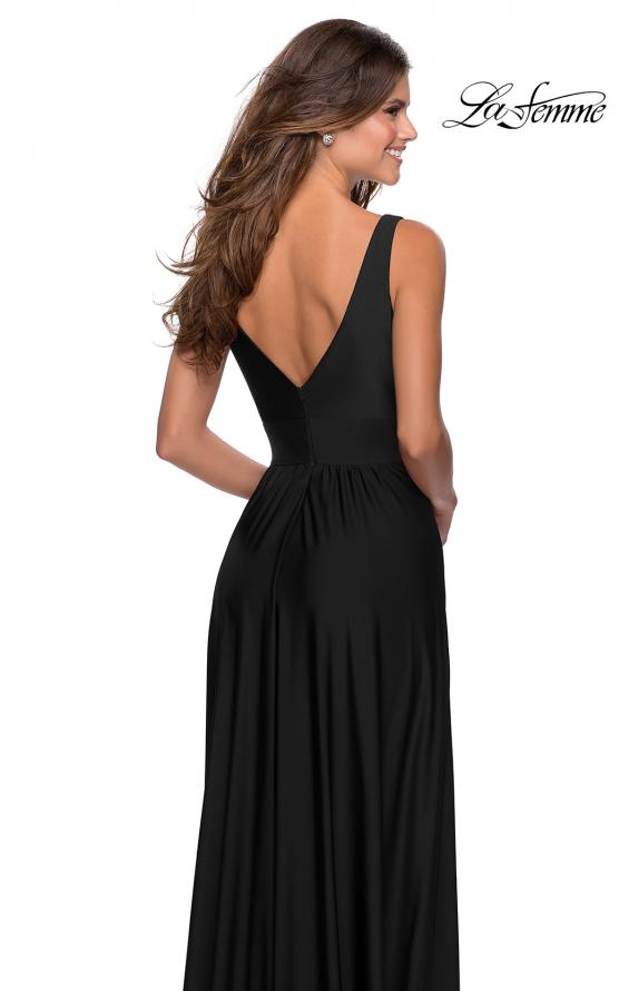 Picture of: Empire Waist Prom Gown with Deep V Neckline in Black, Style: 28547, Detail Picture 5