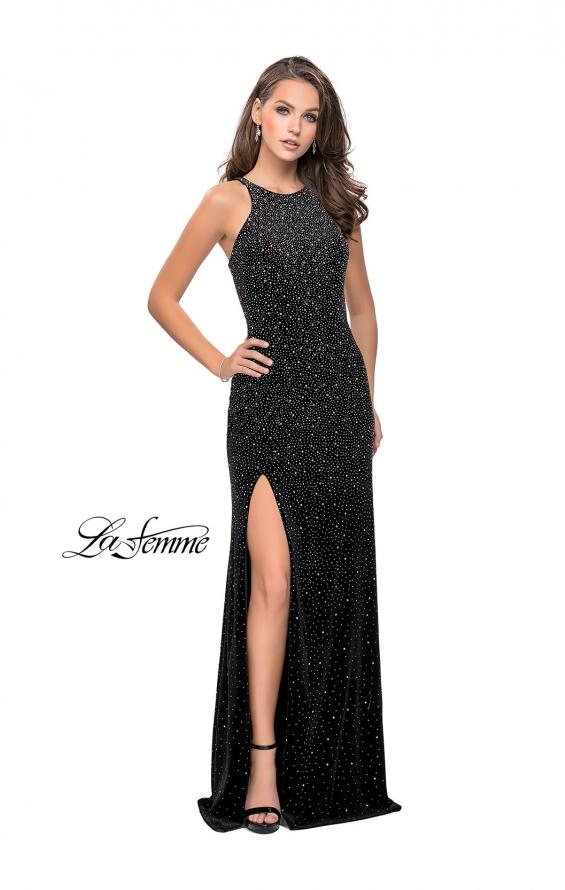 Picture of: Sparkling Velvet Prom Dress with Rhinestone Beading in Black, Style: 25679, Detail Picture 6