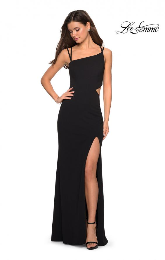 Picture of: Asymmetrical Jersey Prom Dress with Cut Outs in Black, Style: 27126, Detail Picture 6