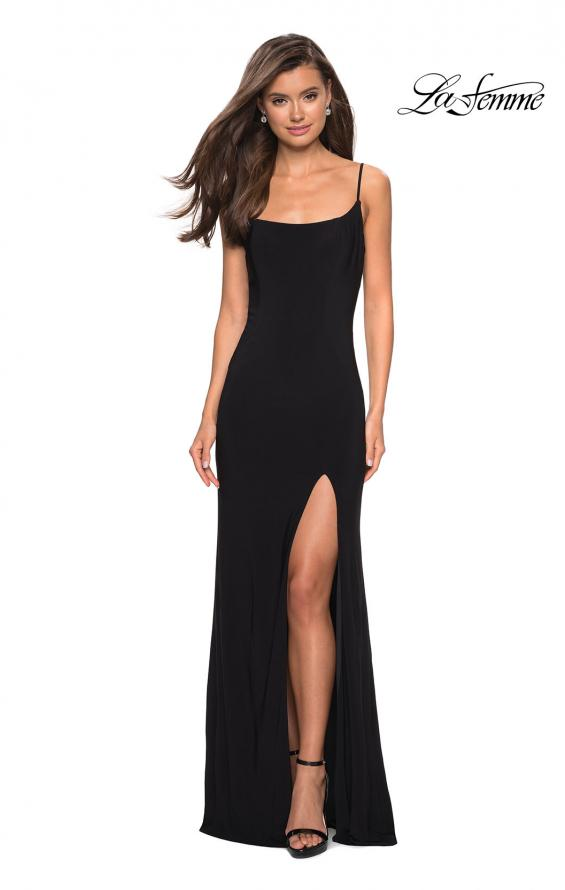 Picture of: Simple Floor Length Jersey Dress with Scoop Neck in Black, Style: 27469, Detail Picture 6