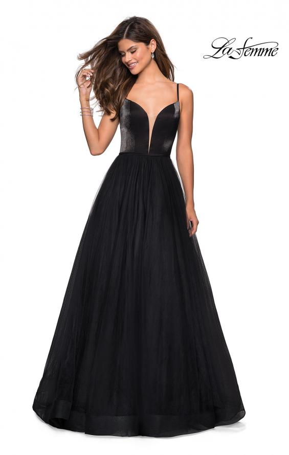Picture of: Tulle evening Gown with Satin Bust and V Shaped Back in Black, Style: 27485, Detail Picture 6