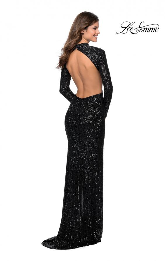 Picture of: Long Sleeve Sequin Prom Dress with Open Back in Black, Style: 28771, Detail Picture 6