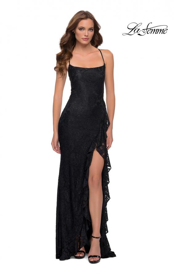 Picture of: Stretch Lace Dress with Ruffle Skirt Detail and Slit in Black, Style 29650, Detail Picture 6