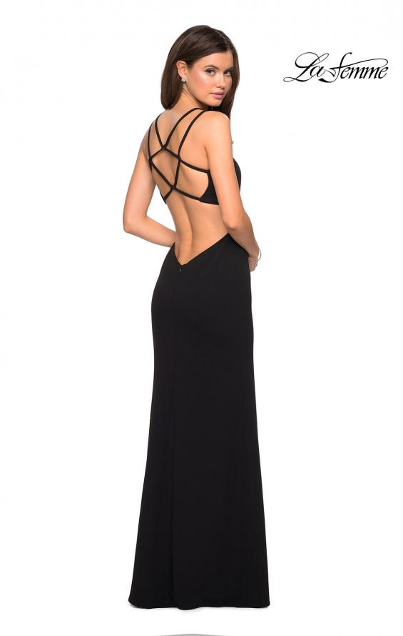 Picture of: Asymmetrical Jersey Prom Dress with Cut Outs in Black, Style: 27126, Detail Picture 7