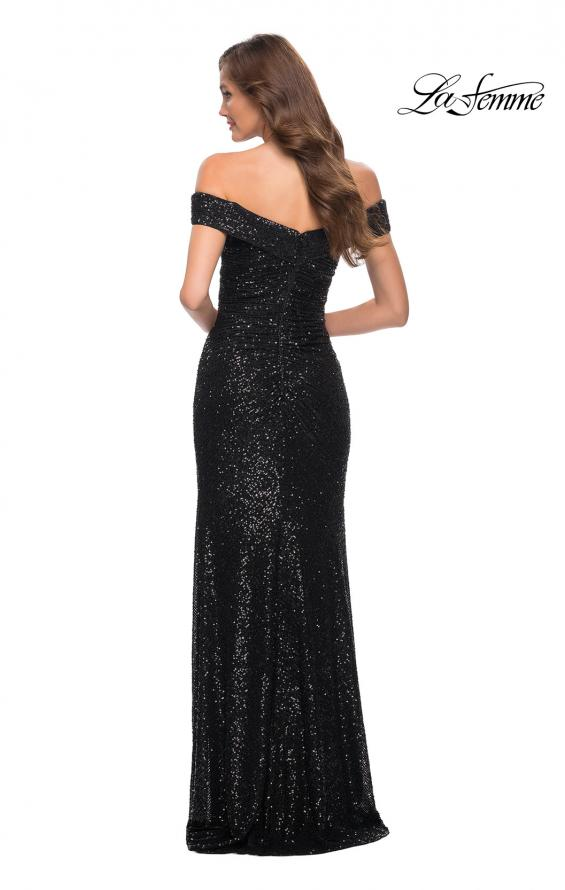 Picture of: Off the Shoulder Ruched Sequin Dress with Slit in Black, Style 29831, Detail Picture 7